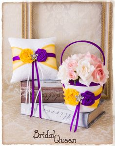 Items similar to Flower Girl Basket and Wedding Ring Bearer Pillow, in Cadbury Purple and Yellow , Purple Yellow Wedding Accessories on Etsy Cadbury Purple Wedding, Yellow Wedding, Ring Pillow Wedding, Wedding Pillows, Purple Yellow, Yellow Flowers, Flower Girl Basket, Wedding Accessories, Gift Wrapping