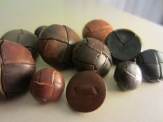 Vintage Buttons   Lot of 11 Leather assortment  by pillowtalkswf, $10.25