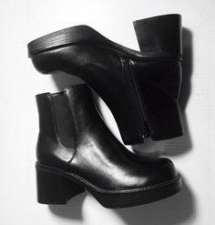 Black Leather Chunky Platform Ankle Boots 8 by 69URANUS on Etsy