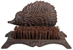 Esschert Design Boot Brush Hedgehog Perfect for placement on patio or front porch Boot Brush inch inch Antique brown cast iron with coconut fiber brush and hedgehog design