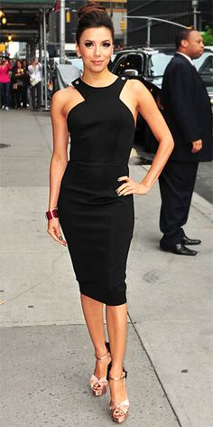 eva longoria. Add a 5-row pearl necklace for an new take on Audrey's classic outfit.