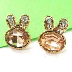 Small Bunny Rabbit Animal Stud Earrings with Rhinestones