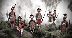 19.  Goroka – Papua New Guinea  The Goroka live in close families, relying on hunting, gathering, and some farming. The ornate make-up and decorations are meant to scare rival tribes, as indigenous warfare is common.