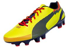 Puma evoSPEED 1 Graphic FG Soccer Cleats - Blazing Yellow with Blue...Available at SoccerPro.
