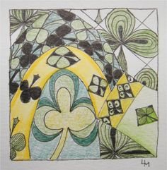 joey's weekly tangle challenge #42: Lucky in '15! pattern: Lucky and string 15