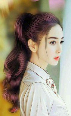 Beautiful Japanese Girl, Beautiful Anime Girl, Ponytail Girl, Lovely Girl Image, Cute Girl Wallpaper, Beautiful Fantasy Art, Painting Of Girl, Digital Art Girl, How To Draw Hair