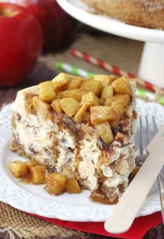 This Apple Cinnamon Cheesecake has pieces of apple and pockets of cinnamon filling layered into it to make the most wonderful apple-filled cheesecake! The combination of smooth, creamy cheesecake, cinnamon, and lightly crunchy apples is something you won't want to miss!