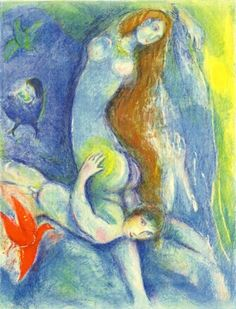 """Chagall """"Then. he spent the night with her"""" (Four Tales from One Thousand and One Nights), Marc Chagall, 1948 Marc Chagall, Artist Chagall, Chagall Prints, Chagall Paintings, Illustrator, Art Institute Of Chicago, Naive Art, Arabian Nights, Renoir"""