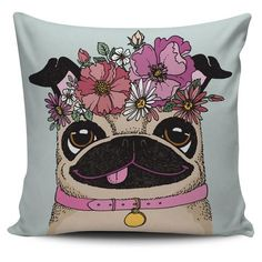 Floral Pug Pillow Case