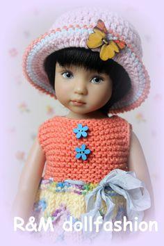 "R&M DOLLFASHION BRIGHT LINE OOAK handknit set for Effner Little Darling 13"" doll"