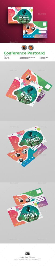 Conference Postcard Template - #Cards & Invites Print Templates