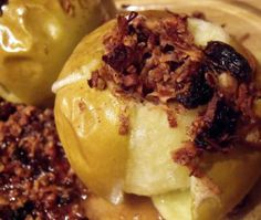 Baked Apples are simple and yummy, so I was excited to see this recipe in Sarah Fragoso's Everyday Paleo. These are stuffed with golden raisins, coconut oil, shredded coconut, chopped pecans, cinnamon, ground cloves, and nutmeg.