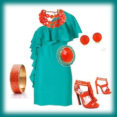 Turquoise and orange outfit - this would be nice for the bridesmaids to wear. Cute and Colorful