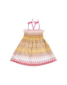 Embroidered stretch lycra mini-dress in ombre ripple pattern and small braces. Loose, soft fit.