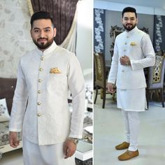 Fayyaz Ejaz in a paired with straight pajamas and a short kurta at his by Waistcoat Men Wedding, Sherwani For Men Wedding, Wedding Dresses Men Indian, Wedding Dress Men, Wedding Men, Sherwani Groom, Ethnic Wedding, Wedding Groom, Wedding Suits