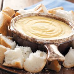 French Onion Cheese Fondue Recipe from Taste of Home -- This 3-ingredient fondue is very quick and easy to prepare for company. --Shared by Cathy Ostrawski of Amherst, New York