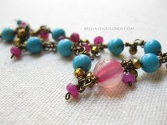 Pink Agate Turquoise howlite Pink Jade Gold Pyrite Antique brass wire wrapped bracelet|Gemstones brass bracelet| Pink/Turquoise/Gold/boho - pinned by pin4etsy.com