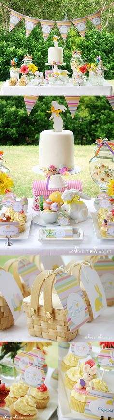 Easter Birthday Party Theme Kids Bunny Rabbit Pastels Girl