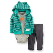 Carter's Boys 3 Piece Teal Stripe Hooded Cardigan with Ears and Kangaroo Pocket, Heather Grey Bodysuit and Grey Pant Set