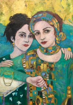 by AliceRudolf: soul sisters Art And Illustration, Illustrations And Posters, Abstract Portrait, Portrait Art, Figure Painting, Painting & Drawing, Expressive Art, Face Art, Art Techniques