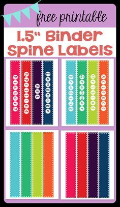 """FREE PRINTABLE 1.5"""" Binder Spine Labels for basic school subjects AND blanks for you to customize 