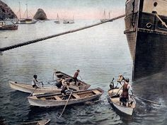 Catalina Island: Children diving for coins, circa 1907, when the Bannings owned the island.