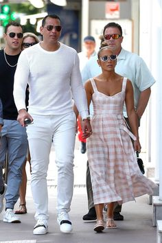 Every Look Jennifer Lopez Wore on Her Epic French Vacation | Who What Wear Celebrity Casual Outfits, Stylish Outfits, Celebrity Style, Celebrity Dresses, J Lo Fashion, Womens Fashion, One Shoulder Swimsuit, Neutral Outfit, Gingham Dress