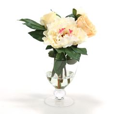 Distinctive Designs 16141 Waterlook ® Champagne Peony and Roses in Glass Footed Vase | ATG Stores
