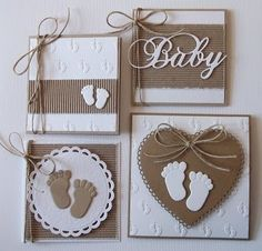 New Baby Shower Decorations Manualidades Ideas Invitacion Baby Shower Originales, Baby Shower Invitaciones, Baby Boy Cards, New Baby Cards, Baby Scrapbook, Scrapbook Paper Crafts, Card Tags, Card Kit, Kids Cards