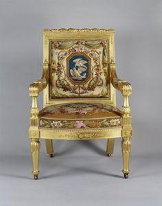 Morel & Seddon  Open armchair  1750 - 1828 Gilded mahogany, tapestry