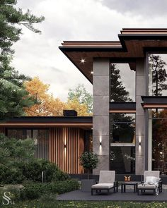 """Instagram'da Interior Design ▪️ Home Decor: """"So beautiful project of a house ❤️ By @studia_54 Follow @olla_home for more inspiration❤️ . . . . . #exterior #exteriordesign…"""" Modern Exterior House Designs, Modern House Facades, Modern Villa Design, Dream House Exterior, Modern Architecture House, Exterior Design, Residential Architecture, House Outside Design, House Front Design"""