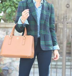 Talbots Tartan plaid blazer jacket - Chambray button up shirt -  navy Sloan-Fit slim ankle pants - Robinson - mini double zip tote purse - round pearlized pave stretch bracelet.  Click on the following link to see all of the photos and outfit details:  http://www.stylishpetite.com/2014/12/tartan-plaid-blazer-and-chambray.html