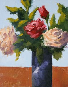 Quartet of Blooms  Original Oil Painting of Red by vanderhoekart