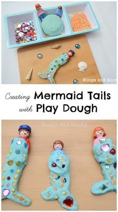 Play dough mermaid tails activity for developing creativity and fine motor skills in an under the sea theme. My daughter would adore this independent play activity. Pirate Activities, Eyfs Activities, Nursery Activities, Playdough Activities, Summer Activities, Preschool Activities, Indoor Activities, Carnival Theme Activities, Family Activities