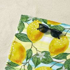 #stripes - #Hip Tropical Summer Lemons Fruit Pattern Beach Towel