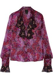 Printed chiffon-trimmed silk-satin blouse