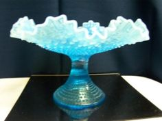 *FENTON ART GLASS ~ Blue Opalescent Hobnail Footed Comport Bowl