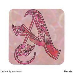 Letter A Beverage Coaster #Alphabet #LetterA #Embossed #Art #Beverage #Drink #Home #Decor #Coaster