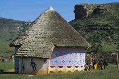 Basotho Cultural Village in Clarens, Free State. A visit to the Basotho Cultural Village which nestles at the foot of huge sandstone mountains, will . I Am An African, African House, Vernacular Architecture, Free State, Unusual Homes, Out Of Africa, People Around The World, South Africa, National Parks