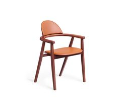 "Chair Hermes chair. L23.6"" x H32.9"" x W21.7"" Canaletto walnut frame and base. Back and seat in smooth gold taurillon leather"