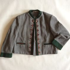 Sport Buco Wien traditional wool jacket, gray with dark green and red applique and embroidery, children's size 8 by afterglowvintage on Etsy