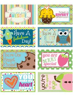 Printable lunchbox notes kids will love. http://www.ivillage.com/love-note-lunch-ideas-kids-lunchboxes/6-a-520959#