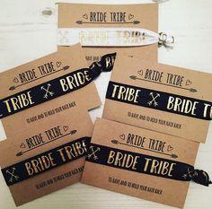 Bride Tribe hair ties / hair elastics / yoga bands / bracelets / hen party favour black or white