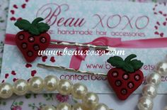 Kawaii Cute Sweet Red Strawberry Kirby Bobby Pin Clips by beauxoxo, £2.00