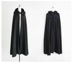 black hooded cape / wool cape / long black cloak