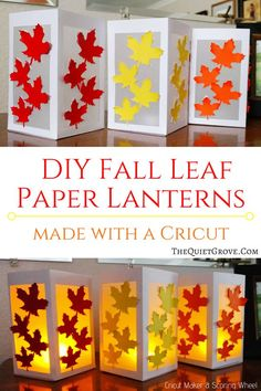 DIY Fall Leaf Paper Lanterns made with a Cricut via Learn how easy these beautiful Fall Leaf Paper Lanterns are to make with Your Cricut, Cardstock, Vellum, and Glue! Perfect budget-friendly decoration for Fall! Paper Lantern Making, Paper Lanterns, Fall Lanterns, Ideas Lanterns, Fall Crafts For Kids, Thanksgiving Crafts, Cricut, Diy Wedding Shoes, Paper Crafts