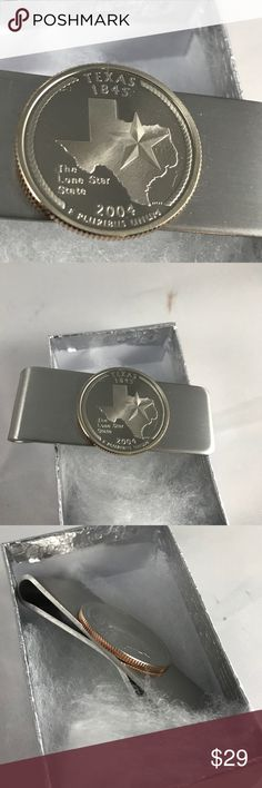 Mint 2004 Texas Quarter Money Clip A-11-66 2004 Texas Mint Set Quarter mounted on a high quality Stainless Steel Money Clip. Cameo polished from 2004 Mint Set. US Mint Accessories Money Clips