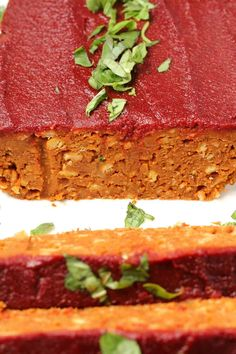 Hearty and satisfying vegan meatloaf. This deliciously simple comfort food is richly flavored and glazed with a sweet and spicy tomato sauce. Vegan Meat Recipe, Gluten Free Vegetarian Recipes, Vegan Dinner Recipes, Raw Food Recipes, Veggie Recipes, Vegan Food, Veggie Meals, Vegetarian Dinners, Gf Recipes