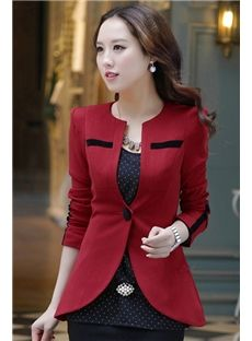 Multi-Color OL Style Leopard Sleeves Slim Blazer
