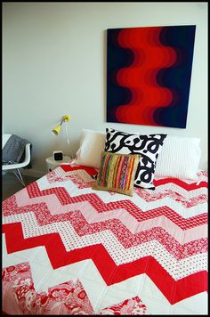 red and white chevron quilt